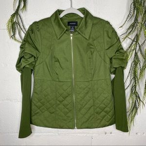 Ashro Green Ruched LS Quilted Collar Jacket SZ 10